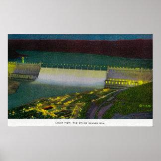 Opinión de la noche, presa magnífica de Coulee Posters