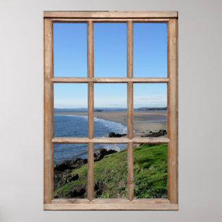 Opinión de la playa de una ventana posters