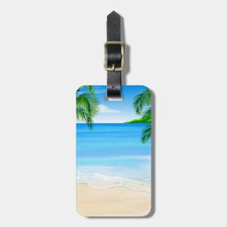 Opinión de la playa etiqueta para equipaje
