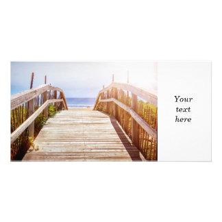 Opinión de la playa tarjeta fotográfica