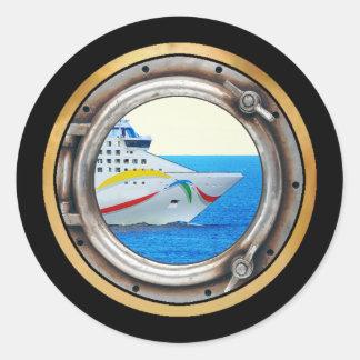 Opinión de la porta del trazador de líneas de lujo pegatina redonda