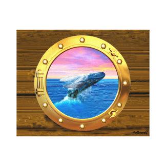 Opinión de la porta una ballena de violación impresión en lienzo estirada