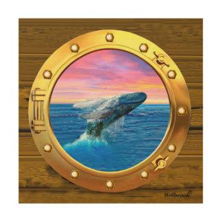 Opinión de la porta una ballena de violación impresión en madera