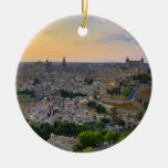 Opinión de la puesta del sol de Toledo España Adorno Navideño Redondo De Cerámica