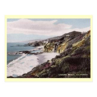Opinión de la resaca, Laguna Beach, vintage de Cal Postal