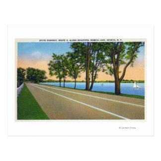 Opinión de la ruta 5 de Hwy del lago Seneca Postales