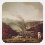 Opinión de la tarde Coalbrookdale, 1777 Pegatina Cuadrada