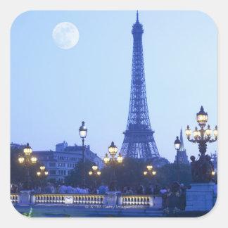 Opinión de la tarde de la torre Eiffel Pegatina Cuadrada