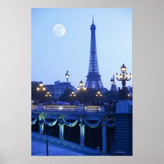 Opinión de la tarde de la torre Eiffel Póster