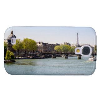 Opinión de la torre Eiffel del Sena del río en Carcasa Para Galaxy S4
