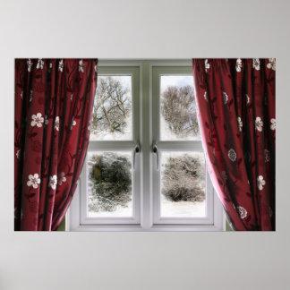 Opinión de la ventana a una escena de la nieve póster