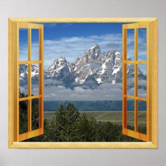 Opinión de la ventana del top de la nieve de la póster