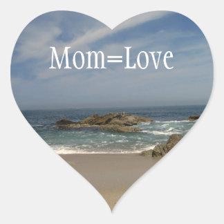 Opinión de las vacaciones; El día de madre feliz Pegatina En Forma De Corazón