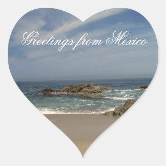 Opinión de las vacaciones; Recuerdo de México Pegatina En Forma De Corazón