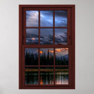 Opinión de madera 1 del paisaje de la ventana de póster