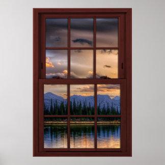 Opinión de madera 2 del paisaje de la ventana de póster