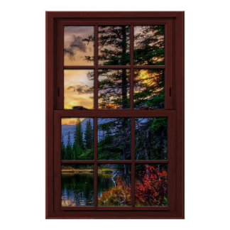 Opinión de madera 3 del paisaje de la ventana de póster