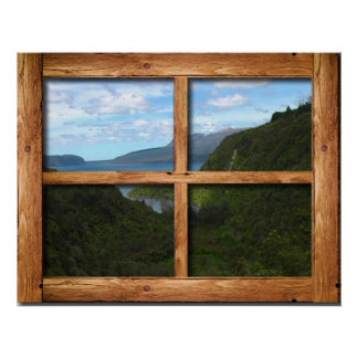 Opinión de madera rústica de marco de ventana de N Póster