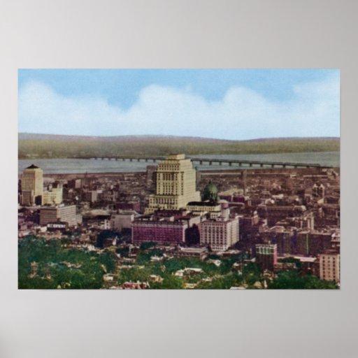 Opinión de Montreal Canadá Birdseye Póster