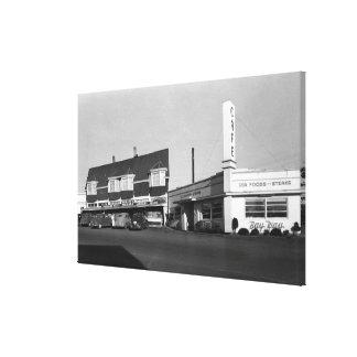 Opinión de Newport Oregon de la fotografía de Caf Impresión De Lienzo