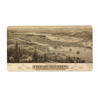 Opinión de Olympia, Washington (1879) de Birdseye Etiquetas De Envío
