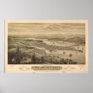 Opinión de Olympia, Washington (1879) de Birdseye Póster