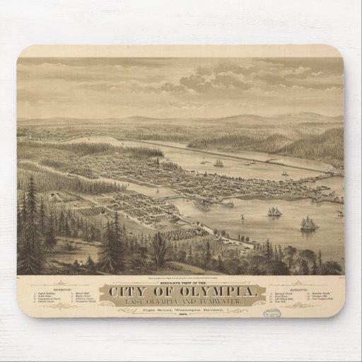 Opinión de Olympia, Washington (1879) de Birdseye Tapetes De Ratón