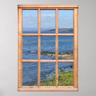Opinión de orilla de mar de una ventana poster
