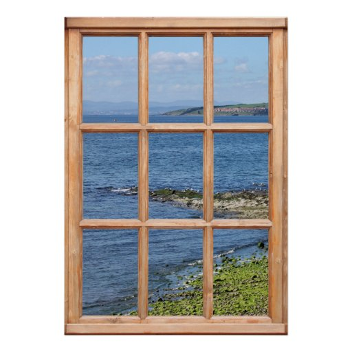 Opinión de orilla de mar de una ventana póster