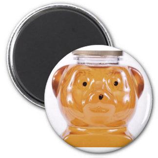 Opinión de oro de la cara del oso de miel imán redondo 5 cm