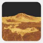 opinión de perspectiva 3D de Maat Mons en Venus Calcomania Cuadradas Personalizadas