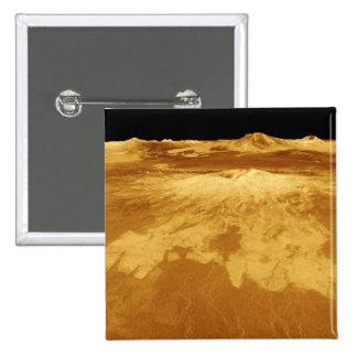 opinión de perspectiva 3D de Sapas Mons en Venus Pin Cuadrada 5 Cm