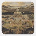 Opinión de perspectiva del castillo francés calcomanía cuadrada