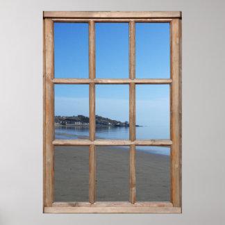 Opinión de playa de Sandy de una ventana Posters
