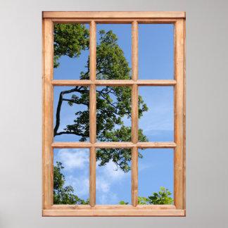 Opinión de rama de árbol de una ventana poster