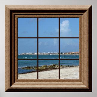 Opinión de relajación de la falsa de la ventana póster