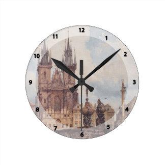 Opinión de Rudolf Alt de la vieja plaza Reloj De Pared
