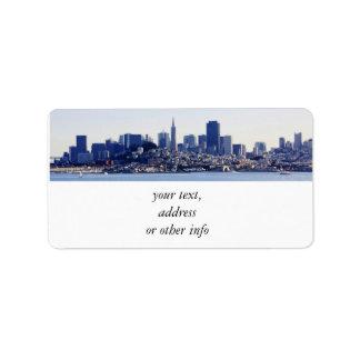 Opinión de San Francisco de la bahía Etiqueta De Dirección