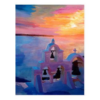 Opinión de Santorini Grecia de Oia durante puesta Tarjeta Postal