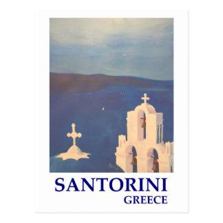 Opinión de Santorini Grecia del estilo del vintage Tarjeta Postal