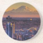 Opinión de Seattle céntrica, fútbol del paisaje ur Posavasos Manualidades