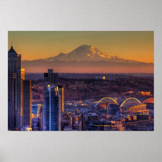 Opinión de Seattle céntrica, fútbol del paisaje ur Póster