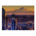 Opinión de Seattle céntrica, fútbol del paisaje ur Postal