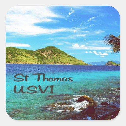 Opinión de St Thomas del mundo coralino Pegatina Cuadrada