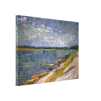 Opinión de Van Gogh del río con los barcos de Impresión En Lienzo