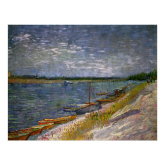 Opinión de Van Gogh del río con los barcos de Póster