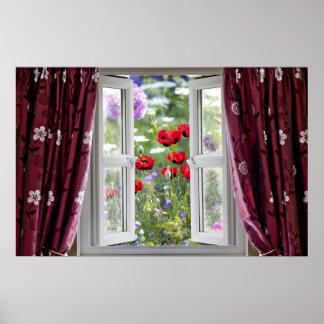 Opinión de ventana abierta sobre jardín de flores  posters