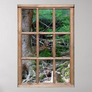Opinión del arbolado de una ventana posters