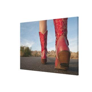 opinión del Bajo-ángulo de las botas de vaquero de Impresión En Lona Estirada