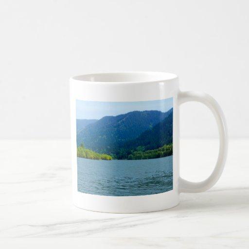 Opinión del bosque del río tazas de café